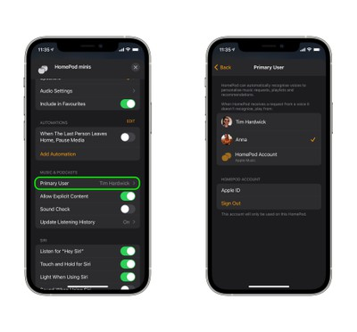 1assign primary user homepod