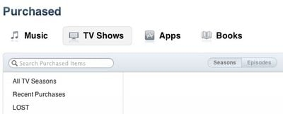 itunes store purchased tv shows