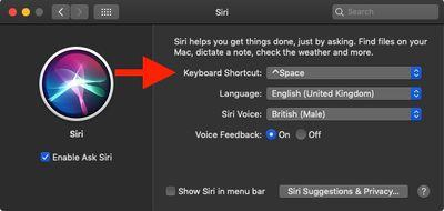 siri preference pane keyboard shortcut