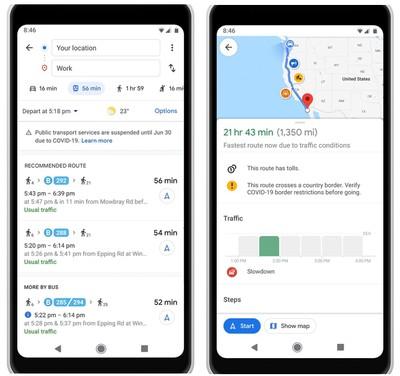google maps covid 19