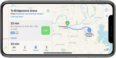 apple maps transit nashville tennessee