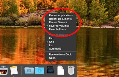 select recent or favorite item dock stack