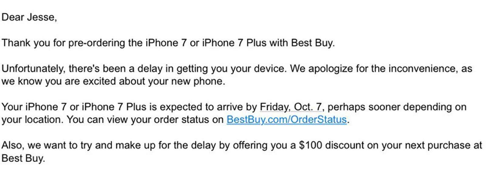 Best Buy Delays Some Iphone 7 Plus Orders Offers 100 Promo Code As Compensation Macrumors