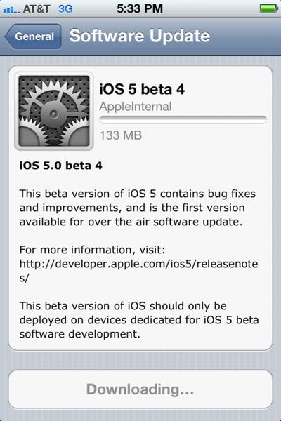 iOS 5 OTA Upgrade