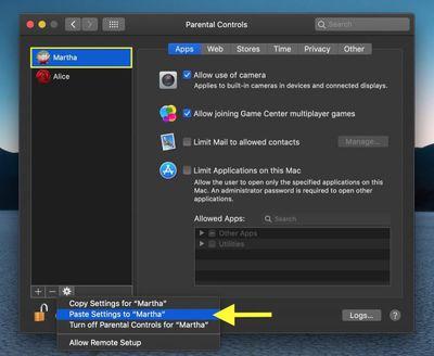 how to copy parental controls between mac user accounts 1