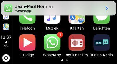 whatsapp carplay melding
