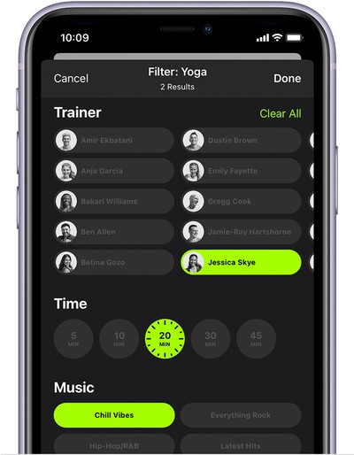 ios14 iphone 11 fitness fitness plus workout filter