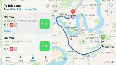 apple maps transit brisbane