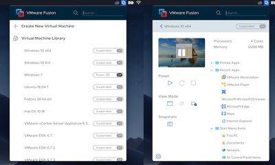 vmware application window