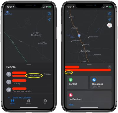 how to refresh find my app ios