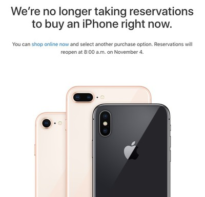 iphone x reservations