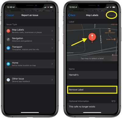 how to send feedback about errors in apple maps 1
