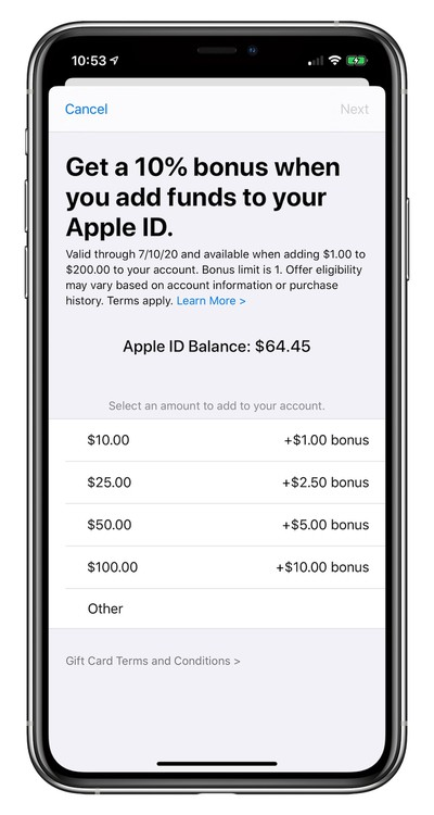 Get a 10% Bonus When Adding Funds to Your Apple ID Through July 10