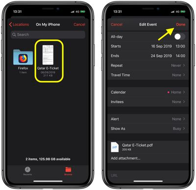 how to add attachements to calendar events ios 2