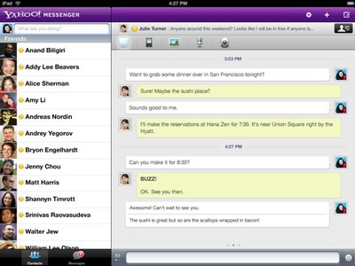 yahoo messenger ipad ui