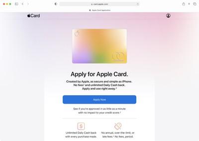apple card apply on web