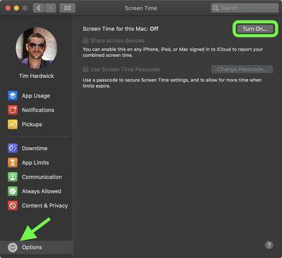 turn on screen time mac