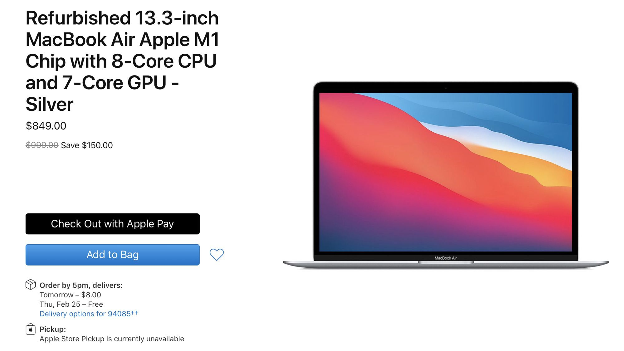 photo of Apple Now Selling Refurbished M1 MacBook Air Models Priced Starting at $849 image