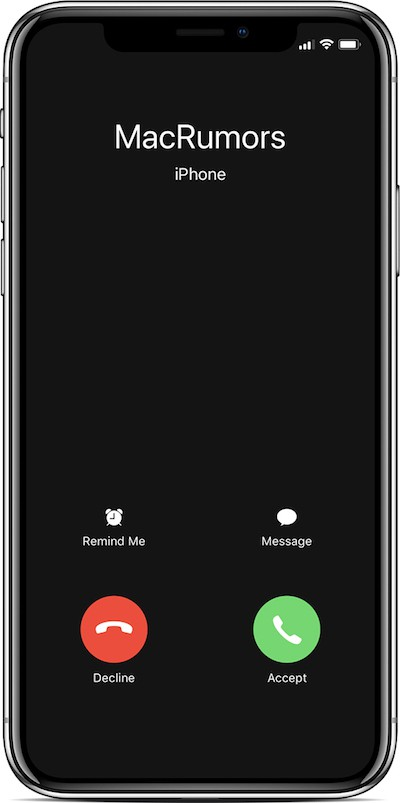 iphone x incoming call