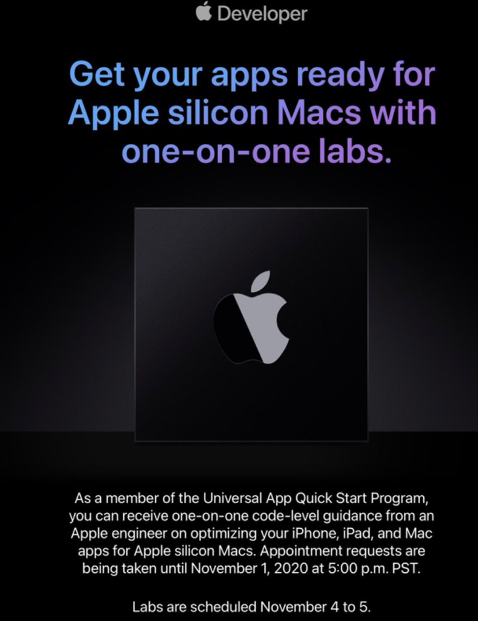 photo of Apple Invites Developers to Get One-on-One Guidance From Engineers Ahead of Apple Silicon Mac Launch image