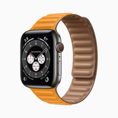 Apple watch series 6 stainless steel case orange band 09152020