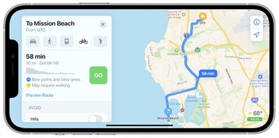 san diego apple maps cycling directions