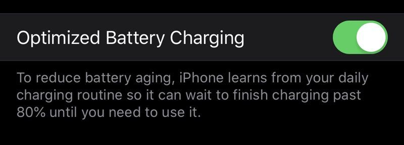 iOS 13 Optimize Battery