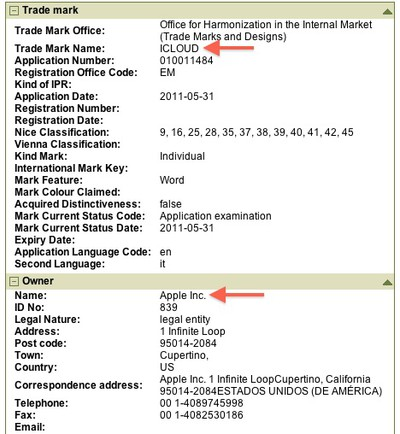 apple icloud trademark