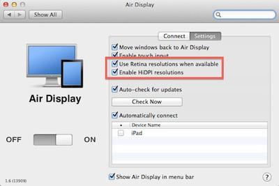 air display retina hidpi settings