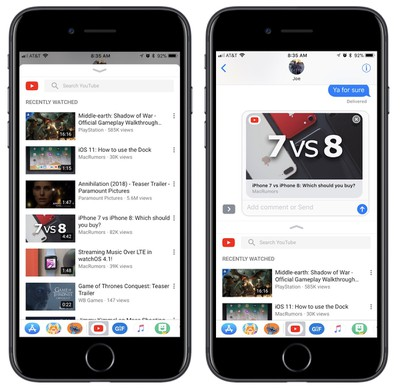 imessage youtube app