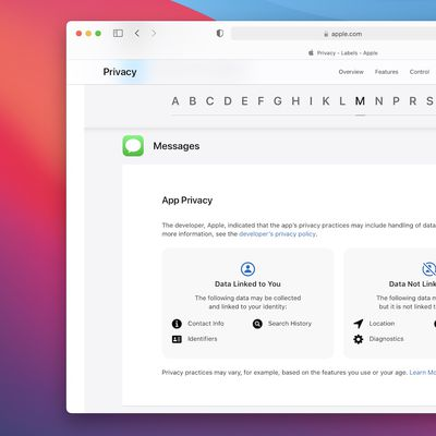 apple privacy labels website