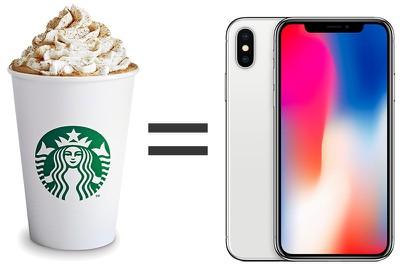 starbucks equals iphone x