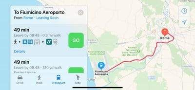 rome apple maps transit