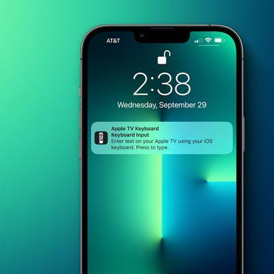 apple tv keyboard notification iphone tight