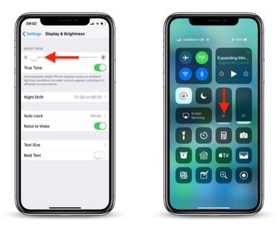 how to reduce screen brightness further in iOS 1