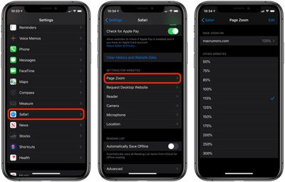 how to make text bigger in in safari ios 1