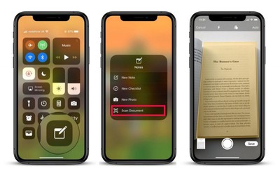 add document scanning to control center