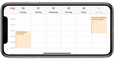 calendar iphone x