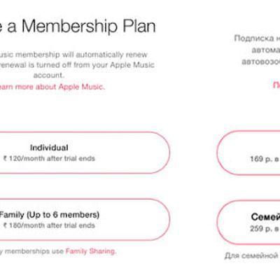 Apple Music India Russia Pricing