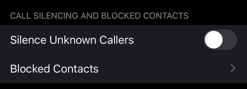 iOS 13 Silence Unknown Callers
