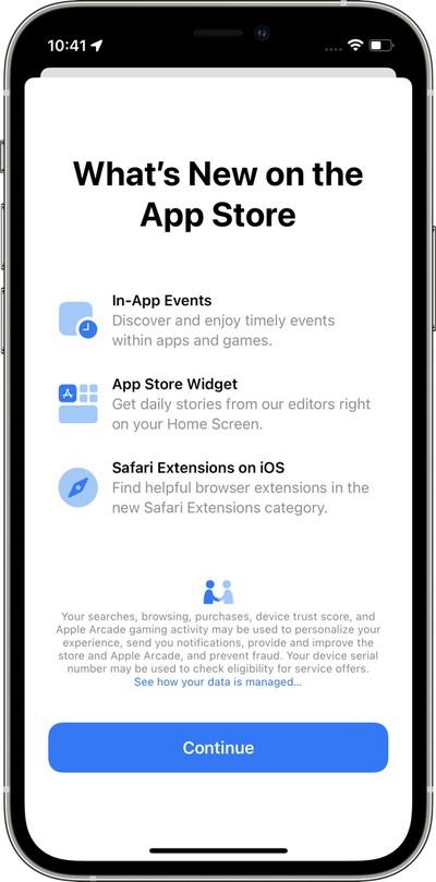 L'écran de démarrage dans l'App Store