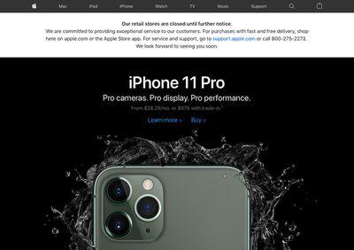 apple store closures indefinite banner website