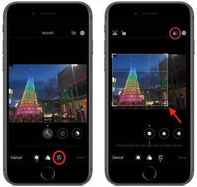 photos editing interface in iOS 13