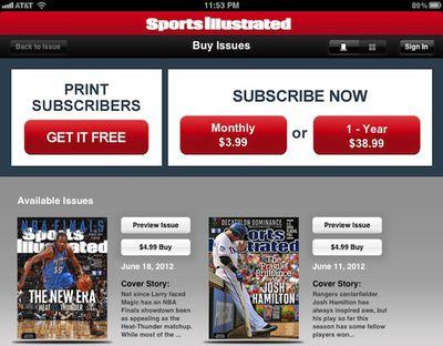 sports illustrated ipad subscriptions