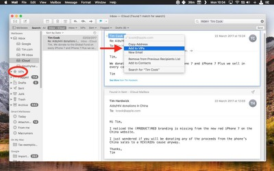 macOS Mail VIPs