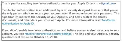 apple two factor email