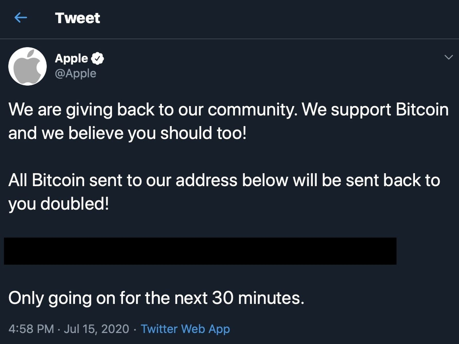 Apple's Twitter Account Hacked by Bitcoin Scammers - MacRumors