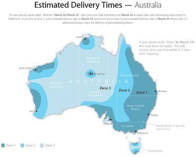 ipad delivery zones australia