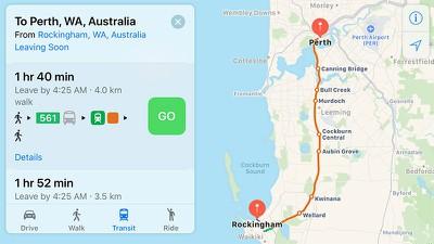 apple maps transit perth