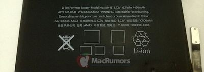ipad mini battery text